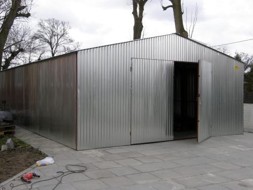 Garaż Blaszany 5x6m Ocynk Brama Dwuskrzydłowa Dach Dwuspadowy